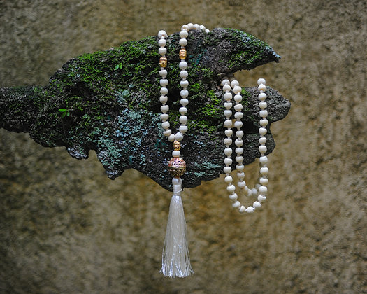 Marble Mountain Jade Mala Necklace From India