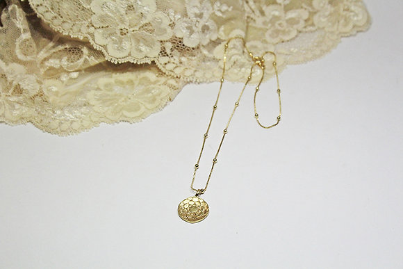 Lotus Fine Chain Necklace, 22K Gold Plated