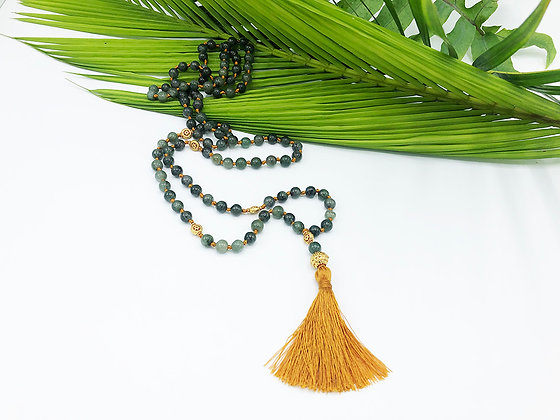Burmese Jade 22K Gold Plated Mala Necklace, Green
