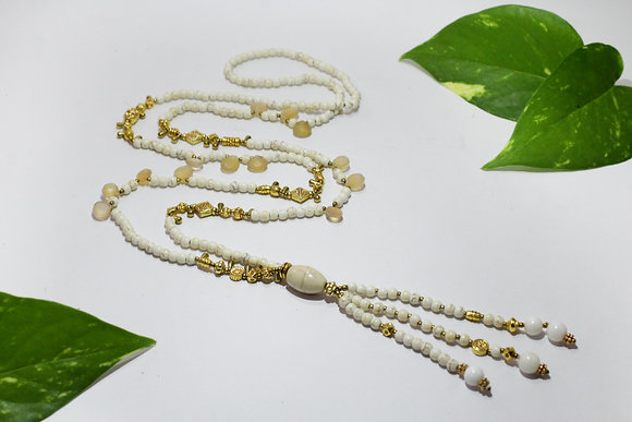 White Turquoise Mala, 22K Gold Plated Indian Beads