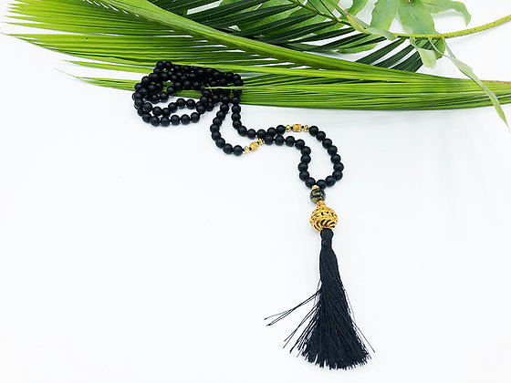 Black Onyx Mala Necklace, 22K Gold Plated with Agate Accent Bead