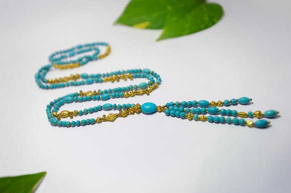 Turquoise Mala, 22K Gold Plated Beads