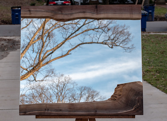 large live edge walnut mirror
