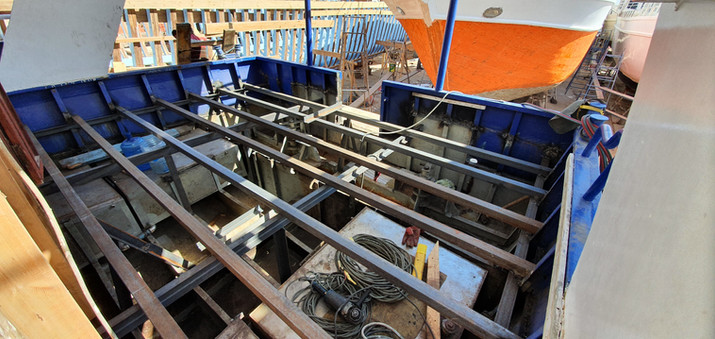 All the steels beingwelded into placeto rebuild the dive deck of the boat