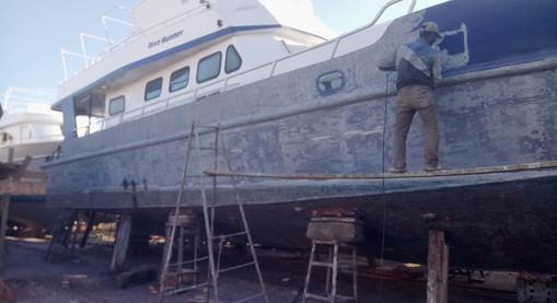 sanding the hull