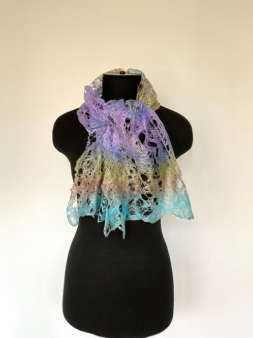 Cobweb Felted Short Scarf