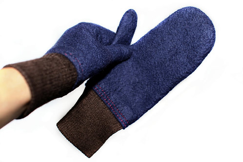 Dark Blue And Brown Felted Mittens
