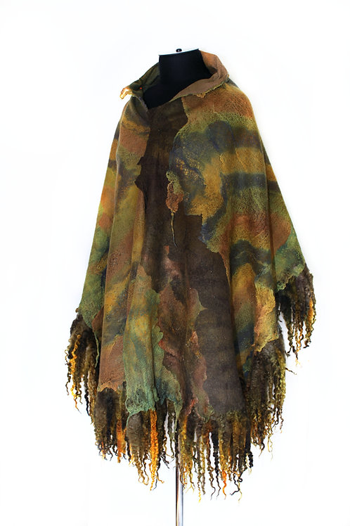 Earthy Color Large Nuno Felted Wrap Scarf