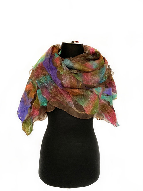 Hand Dyed Nuno Felted Scarf