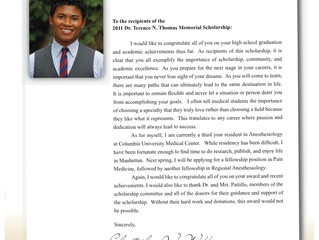 Student Letter from Dr. Chris Webb