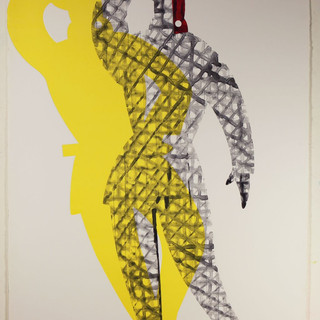 Man King #3 65'x40' monotype, silkscreen, hand coloring,mixed medium on French handmade Paper Colombe Laroque 2008.jpg
