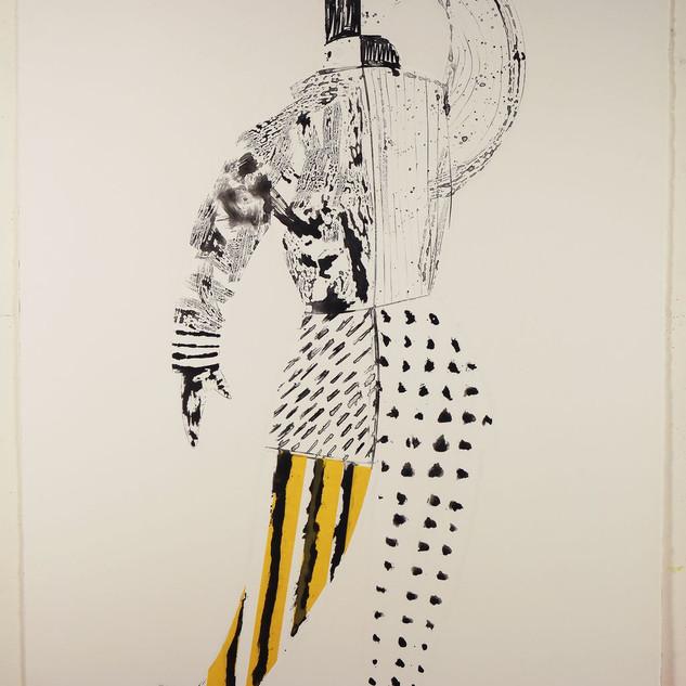 Man King #1 65'x40' monotype, silkscreen, hand coloring,mixed medium on French handmade Paper Colombe Laroque 2008.jpg
