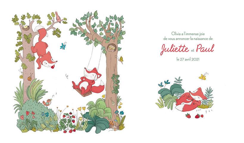 faire-part jumeaux - illustration renards - julie servais illustratrice - dessin renards - faire-part de naissance bruxelles.jpg