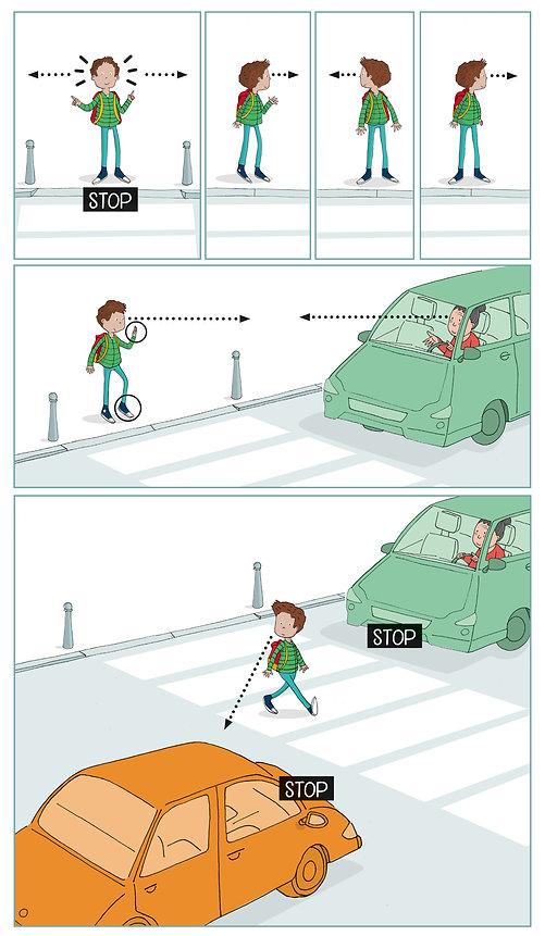 illustration pédagogique, méthode pour traverser, julieservais, dessin pédagogique, enfant traverse, code piéton
