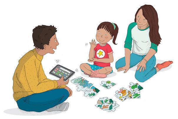 CAA-communication alternative améliorée-illustration-commande-vocale-tablette-communication-langue-des-signes