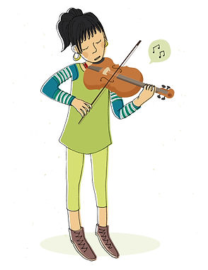 Illustration instrument de musique, violon, julie servais, dessin violon, illustratrice bruxelles