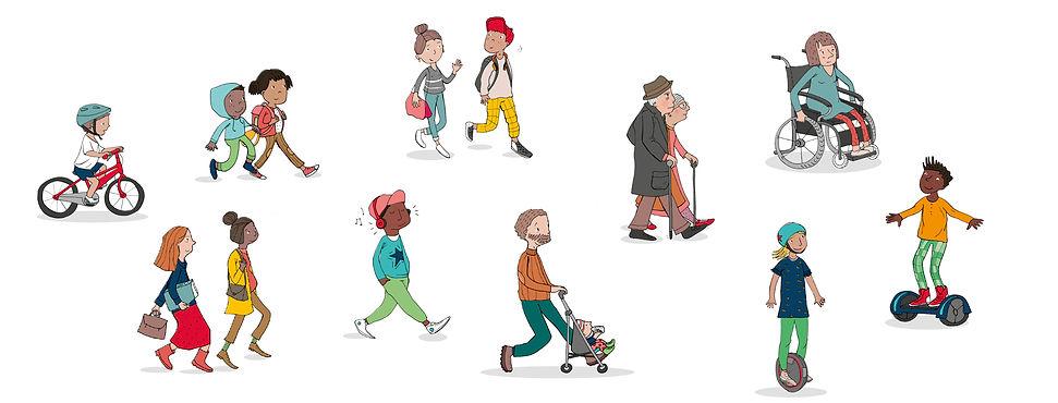 piétons, julie servais, dessin pédagogique, Code de la route enfants, Code du piéton