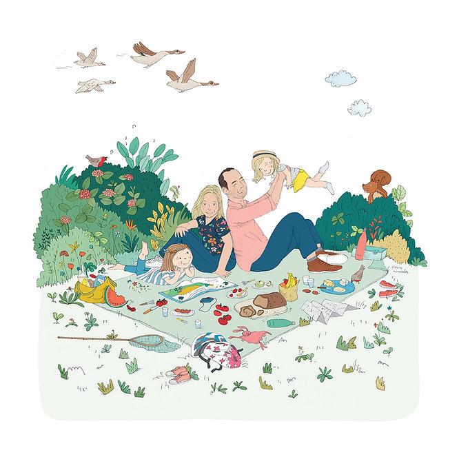 Portrait-famille-illustrateur-jeunesse-dessin-campagne-pic-nic-julie servais