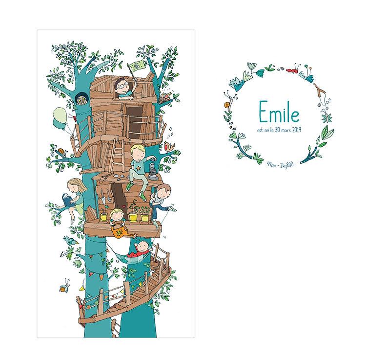 faie-part de naissance illustration cabane arbre enfants