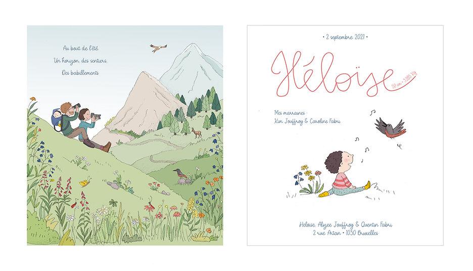 illustratrice julie servais, illustration faire-parts de naissance, graphisme naissance, carton naissance, annonce personnalisée