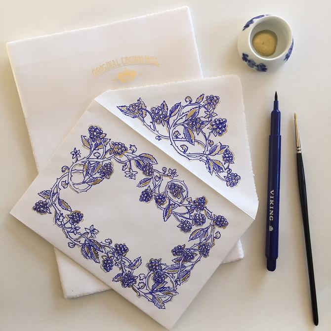 Decorating Crown Mill envelopes