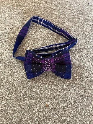 Purple Tartan Hand Embroidered Bow Tie