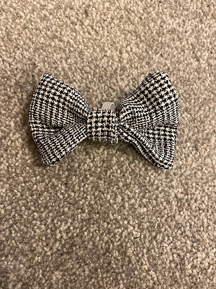 Black and White Check Hand Embroidered Dog/Cat Bow Tie - with silver embroidery