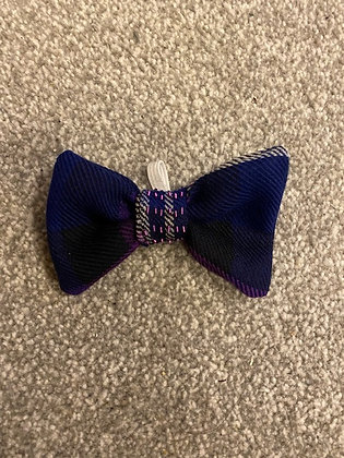 Purple Tartan Hand Embroidered Dog/Cat Bow Tie - with purple embroidery