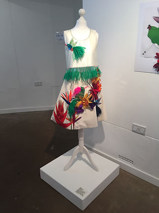 Top and skirt in exhibition space