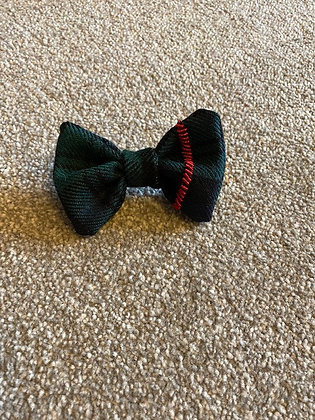 Green and Black Tartan Hand Embroidered Dog/Cat Bow Tie (2)
