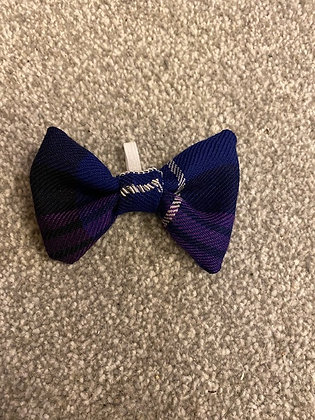 Purple Tartan Hand Embroidered Dog/Cat Bow Tie - with silver embroidery (2)