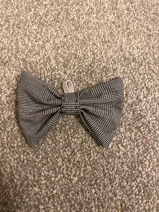 Black and White Hand Embroidered Dog/Cat Bow Tie - with black embroidery