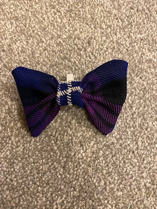 Purple Tartan Hand Embroidered Dog/Cat Bow Tie - with silver embroidery