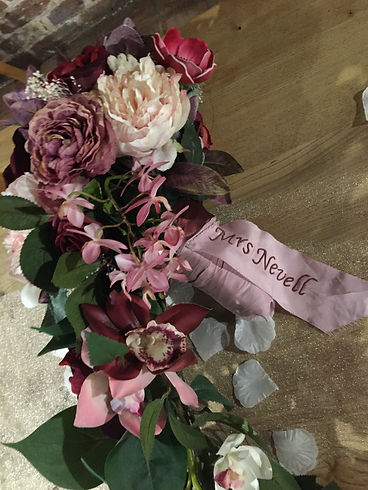 Wedding bouquet with bespoke hand embroidered ribbon