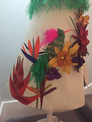 Details of tropical flora skirt