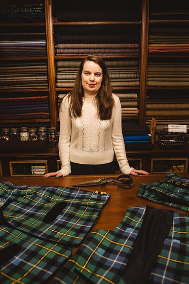Lizzie Lowe and her crossing borders collection in Stewart Christie & Co shop.