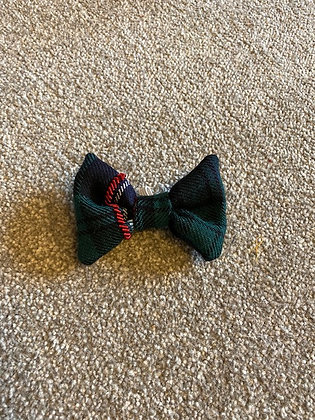 Green and Black Tartan Hand Embroidered Dog/Cat Bow Tie (3)