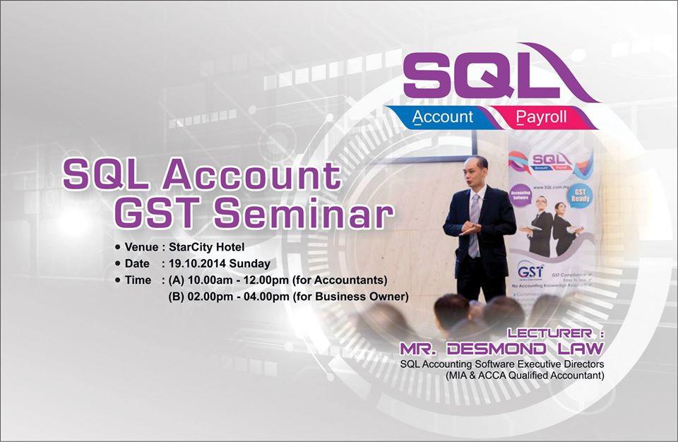 SQL Account GST Seminar with Desmond Law in Alor Setar on 19-10-2014