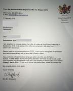 愛德華六世國王學校的取錄信件