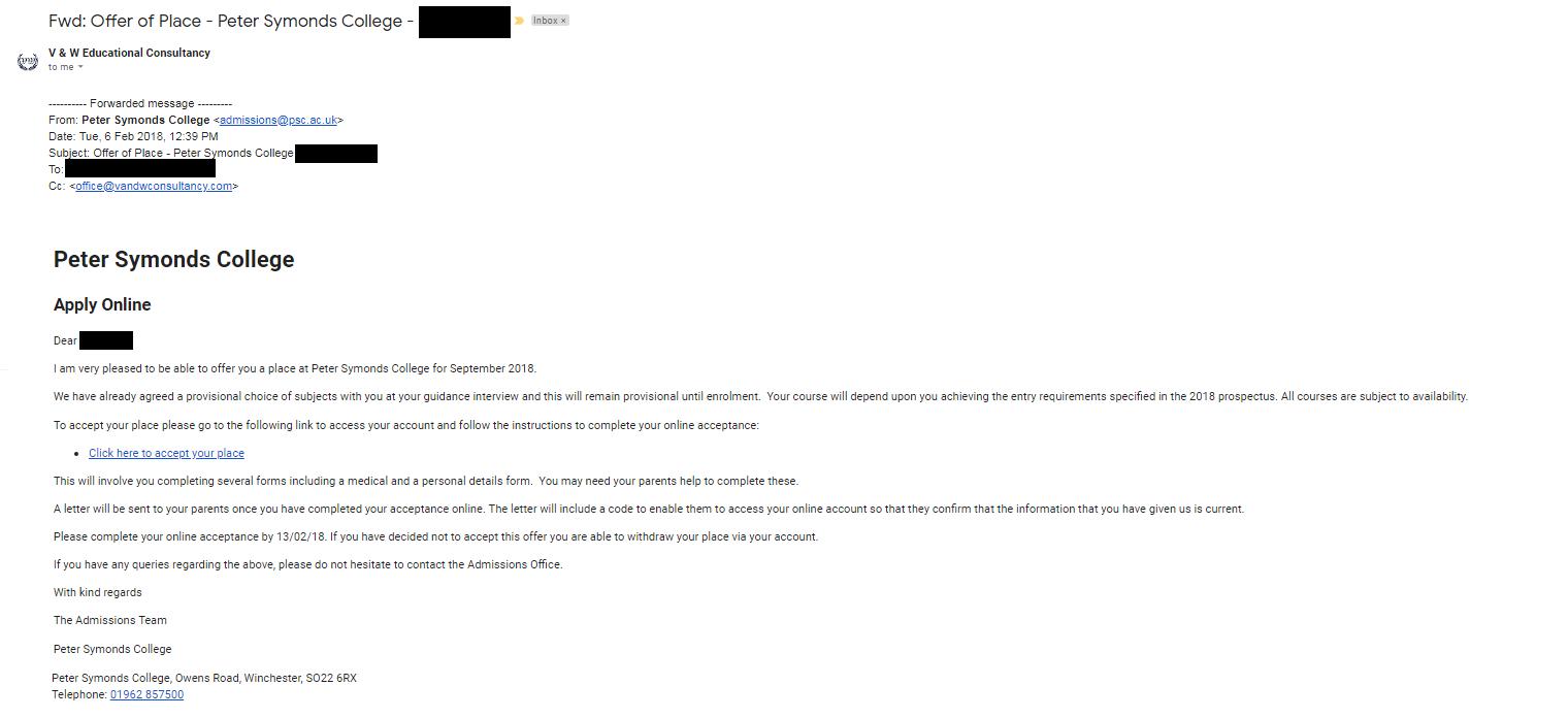 彼得西蒙兹学院的取录邮件