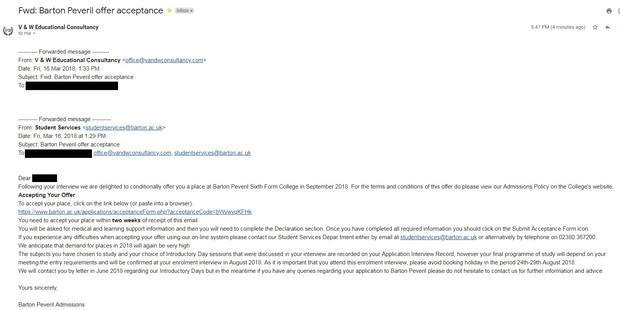巴顿·佩弗里尔预科学院的取录邮件