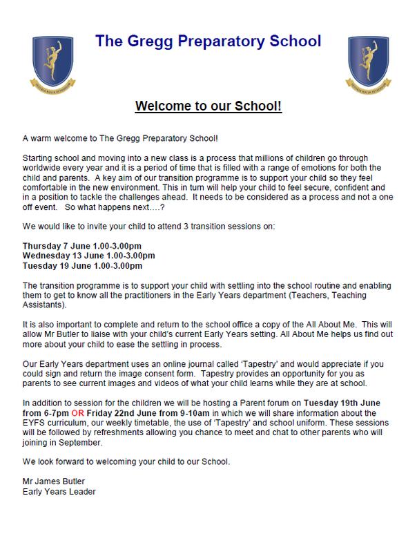格雷格预备学校的邀请函