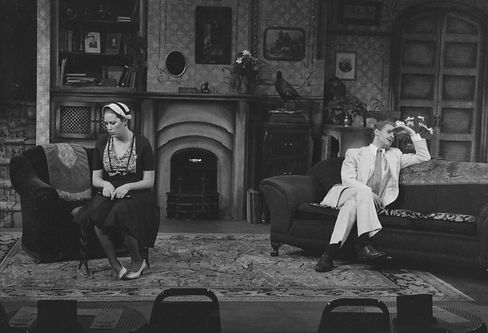 Sue Berch and Ed Shapiro in Hay Fever at The Cider Mill Playhouse