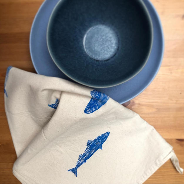 Hand printed 100% cotton tea towel