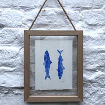 Framed lino print fish