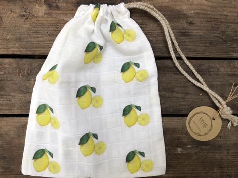 Lemon drawstring bag