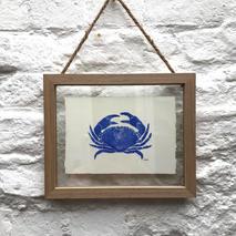Framed lino print crab