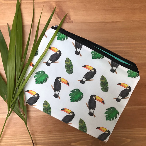Tropical printed pouches