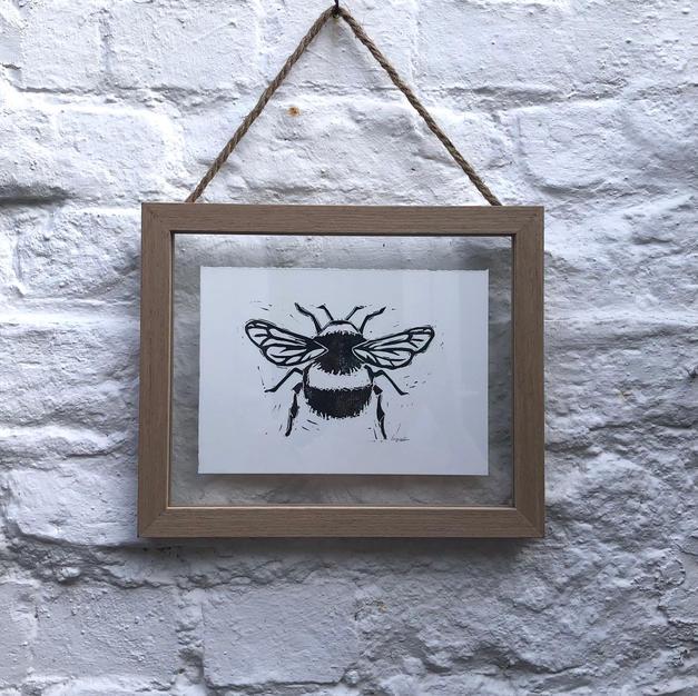 Framed lino print bee