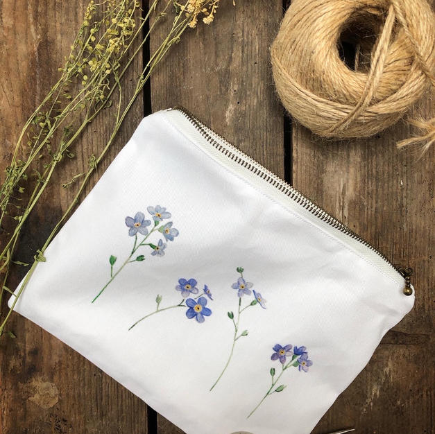 Fabric Forget-me-not pouch